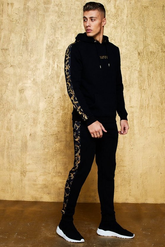 Mens Black Original MAN Tracksuit With Baroque Panel