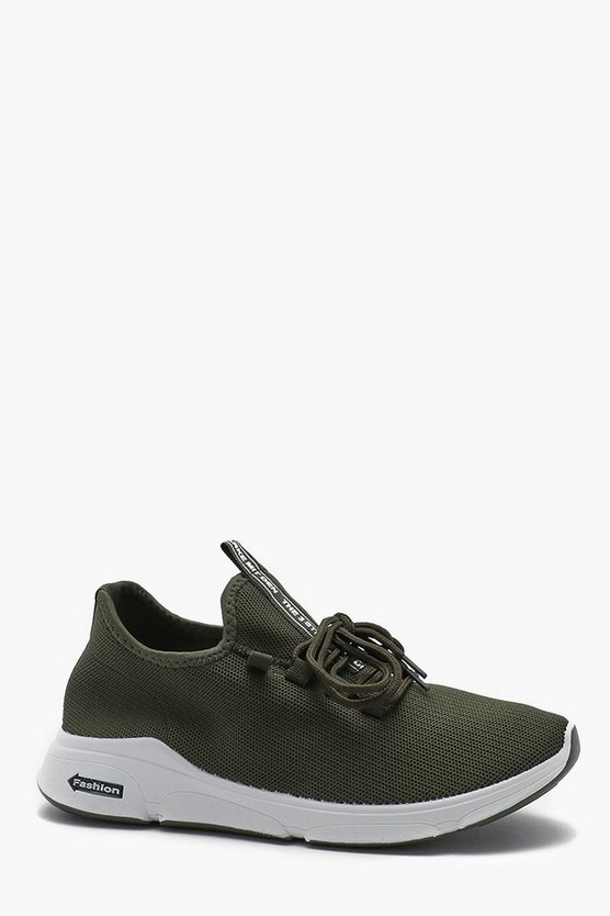 Khaki Knitted Lace Up Running Trainer