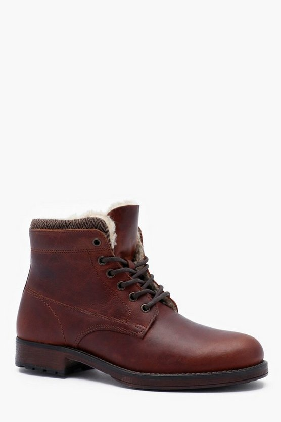 Mens Tan Waxy Leather Lace Up Boot