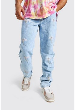 Relaxed Fit Bird Aop Jean, Ice blue