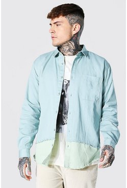 Teal Spliced Twill Overshirt