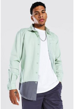 Pale green Spliced Twill Overshirt