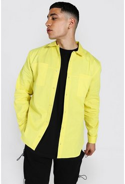 Yellow Minimal Plain Twill Overshirt