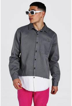 Grey Spliced Twill Overshirt