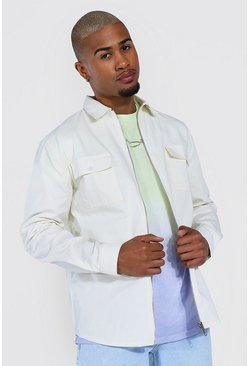 Ecru Zip Through Twill Overshirt