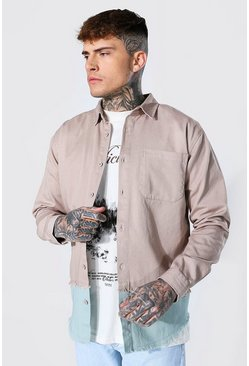 Taupe Spliced Twill Overshirt