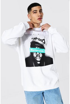 White Oversized Notorious Biggie License Sweatshirt