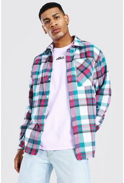 Multi Oversized Split Hem Check Shirt
