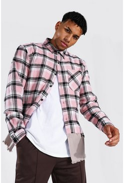 Light pink Spliced Check & Twill Overshirt