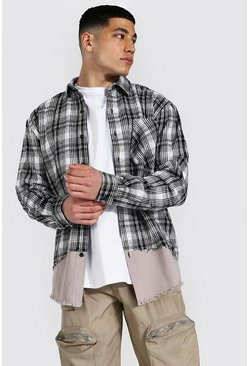 Ecru Spliced Check & Twill Overshirt