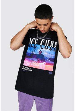 Black Oversized Ice Cube Car License T-shirt