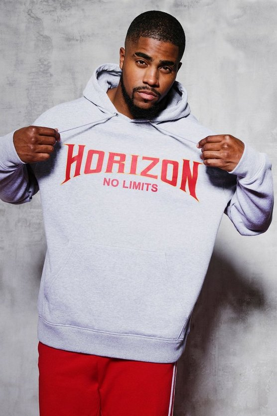 Grey marl Big And Tall Horizon Chest Print Hoodie