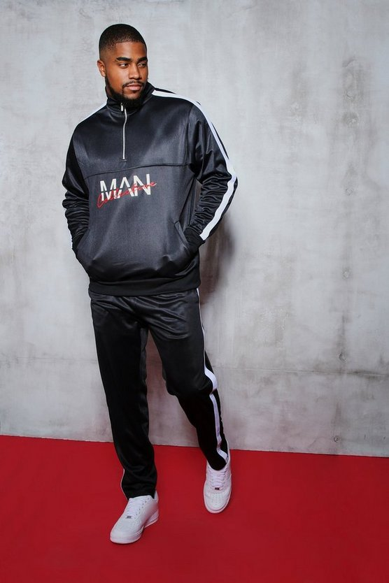 Mens Black Big And Tall MAN Collective Printed Tricot Tracksuit
