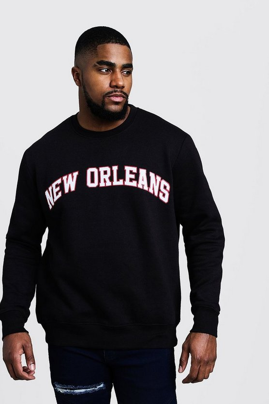 Mens Black Big And Tall New Orleans Sweater