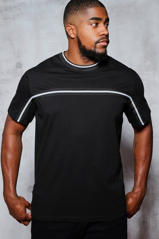 Black Big & Tall T-Shirt With Tape Detail