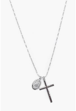 Mens Silver Cross And Coin Necklace