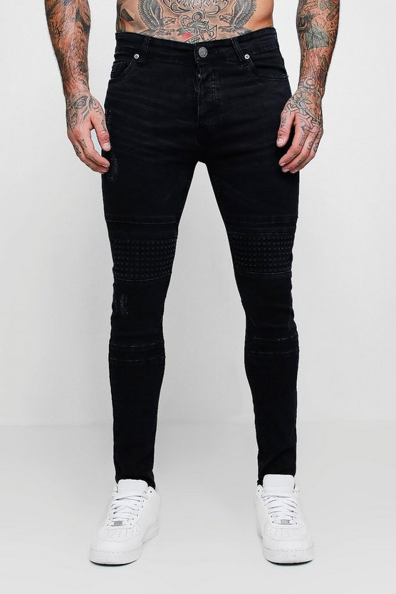 Washed black Spray On Skinny Jeans With Biker Panelling
