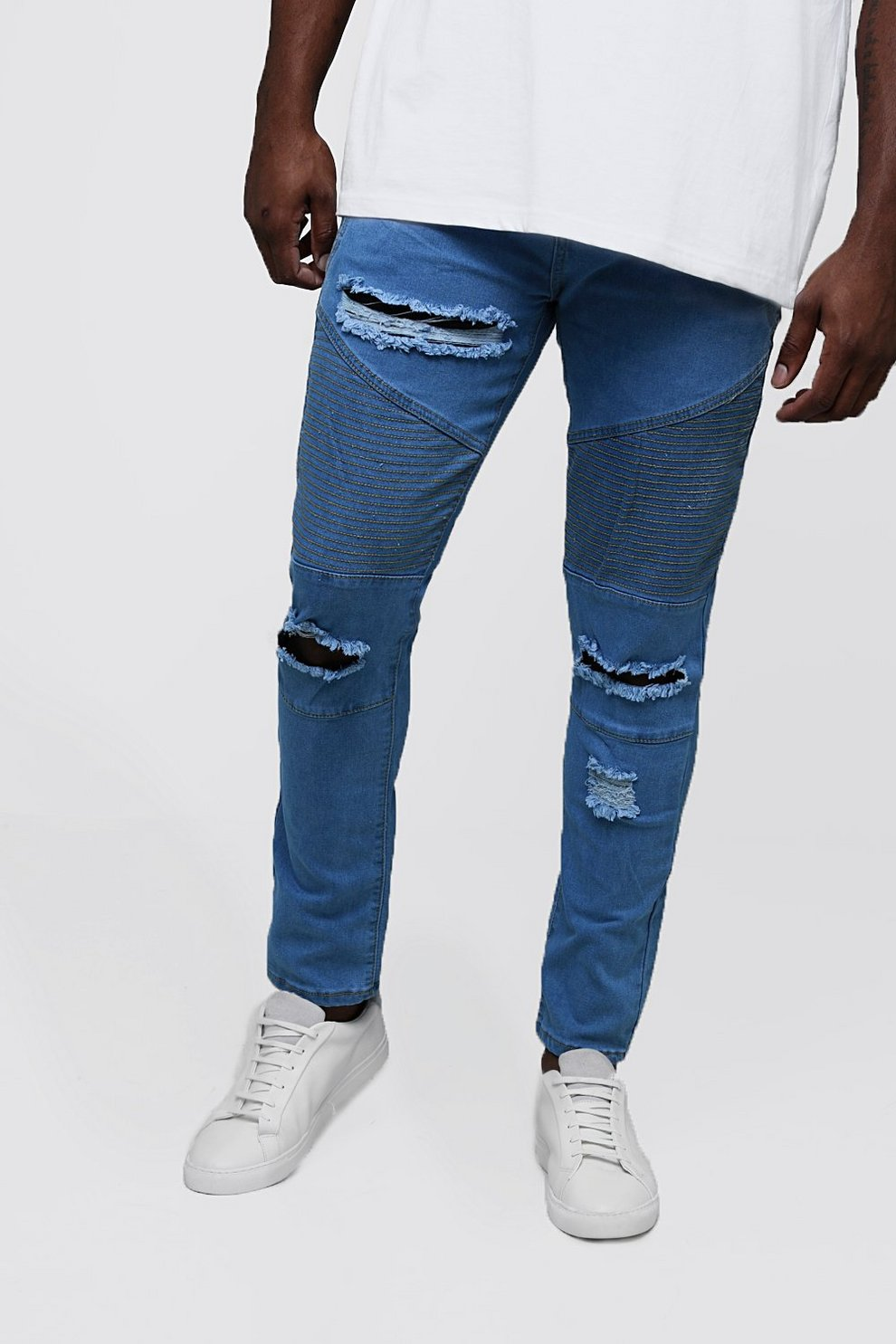 2e1dcb2f Mens Pale blue Big & Tall Skinny Fit Ripped Biker Jeans. Hover to zoom