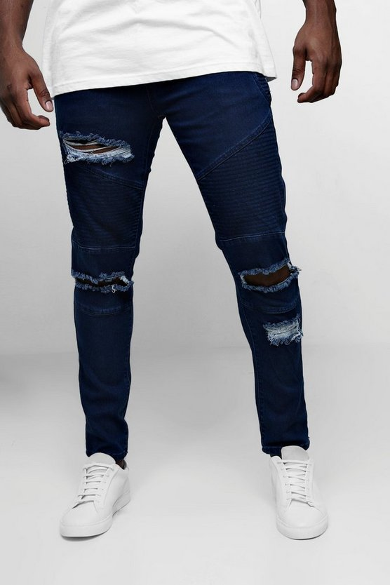 Mid blue Big & Tall Skinny Fit Ripped Biker Jeans