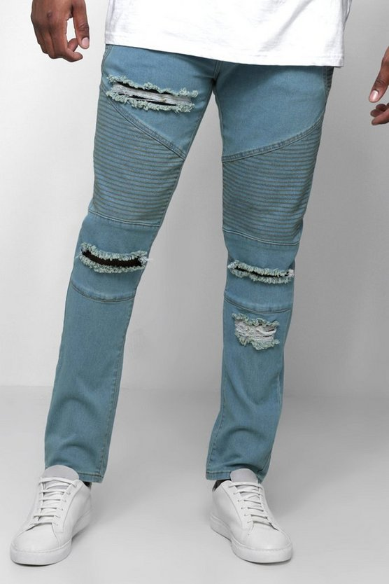 Mens Vintage wash Big & Tall Skinny Fit Ripped Biker Jeans