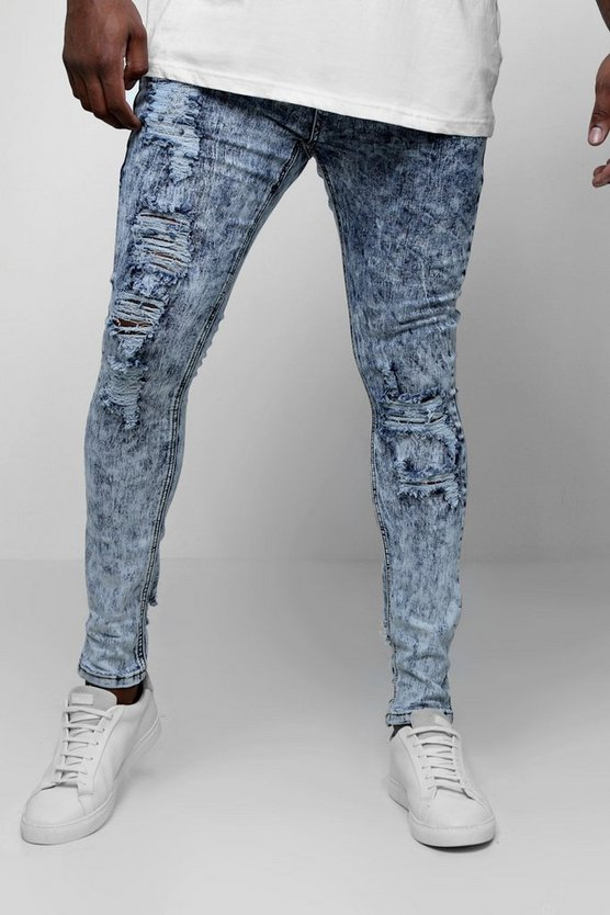 Light blue Big & Tall Acid Wash Skinny Fit Jeans