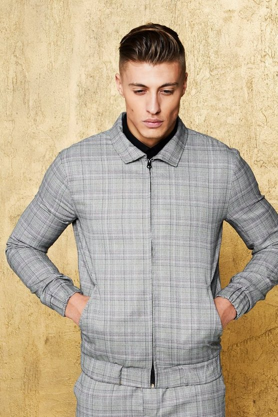 Veste habillée à revers à carreaux multiples, Gris