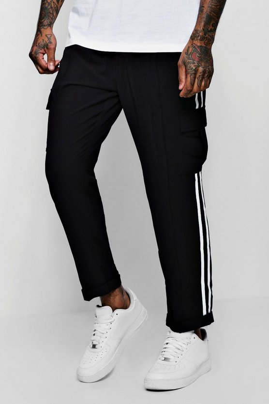Mens Black Smart Woven Cargo Pants With Tape