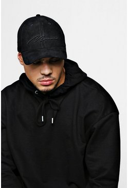 Black 3D MAN Script Embroidered Suede Cap