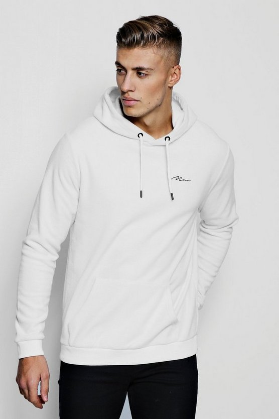 Mens White MAN Signature Fleece Over The Head Hoodie