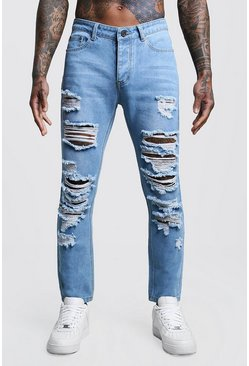 Mens Vintage wash Slim Fit Rigid Jeans With Extreme Rips