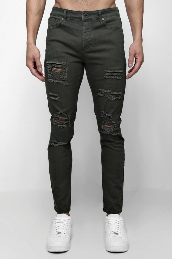 Khaki Skinny Fit Jeans With All Over Rips