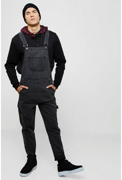 salopette slim rigide en denim, Anthracite, Homme