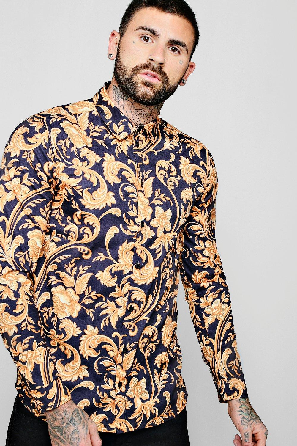 c0ce763dd7f Mens Black Baroque Print Long Sleeve Shirt. Hover to zoom