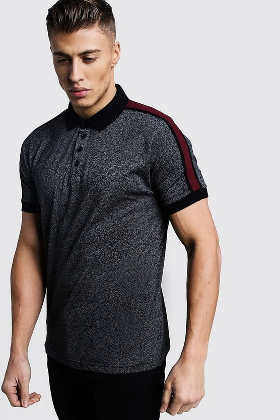 Black Melange Jersey Polo With Side Tape