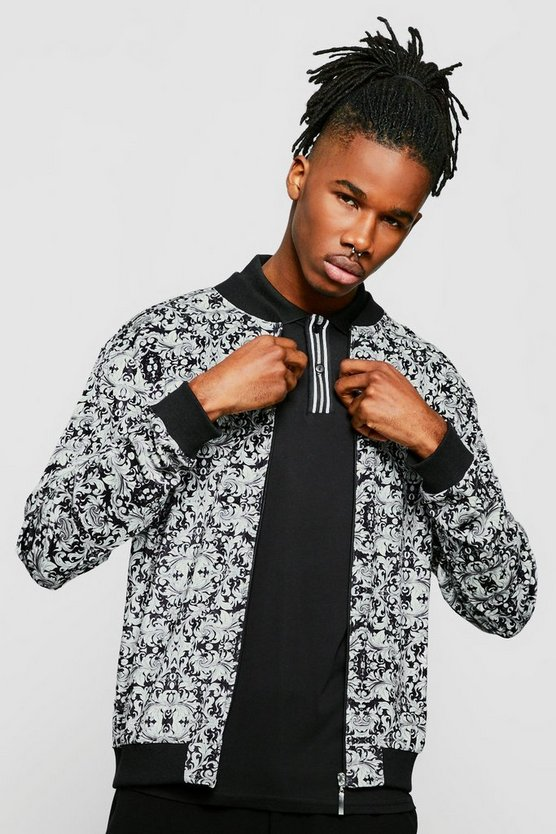 Mens Black Baroque Velour Print Bomber Jacket