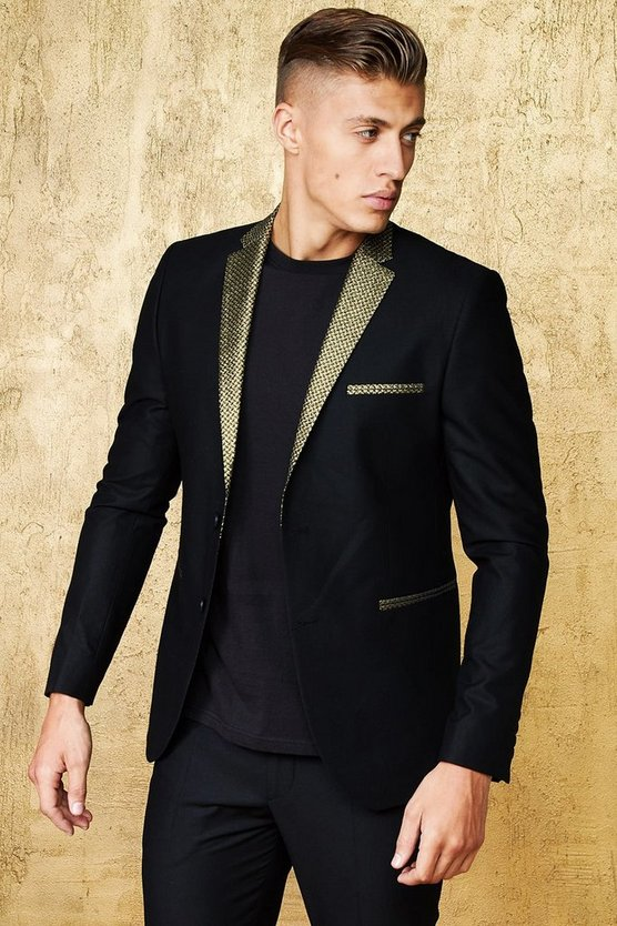 Black Skinny Fit Suit Blazer With Jacquard Lapel