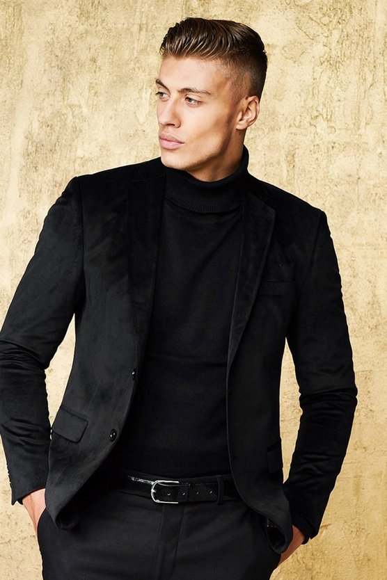 Black Velour Skinny Fit Suit Jacket