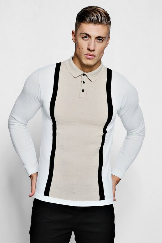 Stone Muscle Fit Colour Block Long Sleeve Knitted Polo