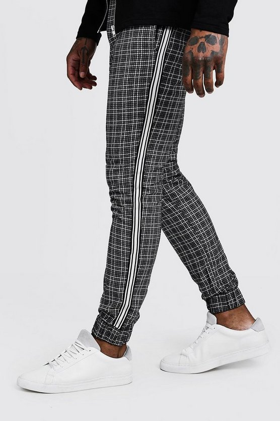 Check Smart Cuffed Jogger Pants With Tape