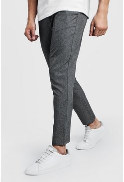 Mens Grey Plain Smart Jogger Trouser