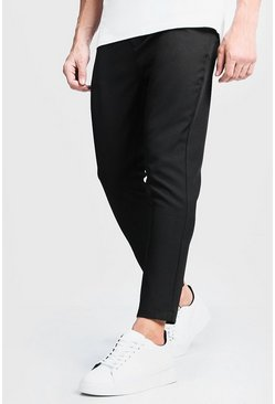 Black Plain Smart Cropped Jogger Trouser
