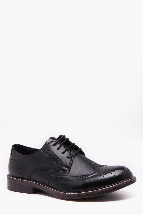 Mens Black Cleated Gibson Brogues