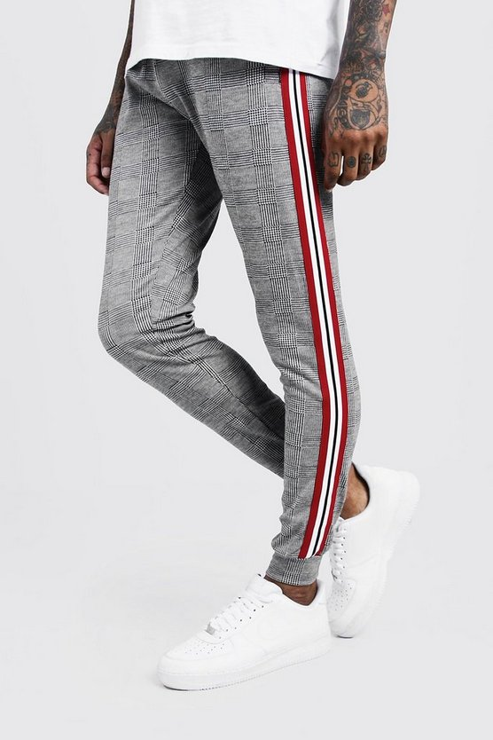 Black Check Jacquard Jogger With Side Tape