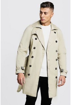 Mens Stone Double Breasted Smart Trench