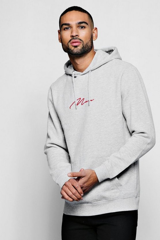 Grey Red MAN Signature Embroidered Hoodie