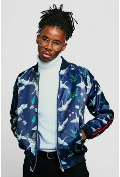Mens Navy Oriental Print Satin Bomber With Sports Tape