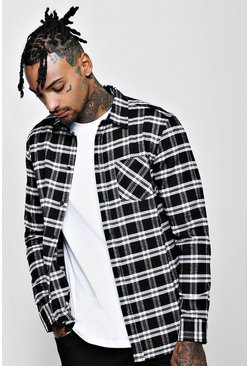 Black Long Sleeve Regular Fit Flannel Check Shirt