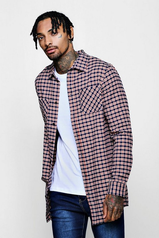 Blue Longline Long Sleeve Check Shirt With Patch
