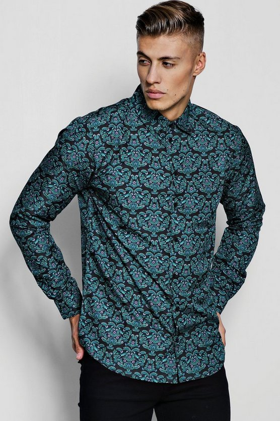Green Ornate Print Long Sleeve Shirt