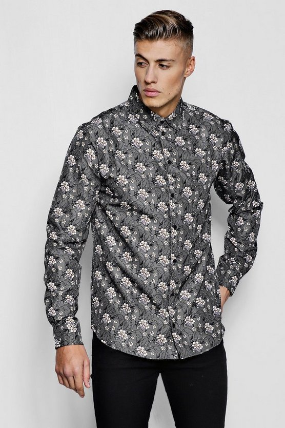 Grey Floral Paisley Print Long Sleeve Shirt